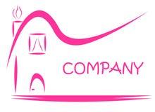 Pink House Sign Estate Logo Stock Photo