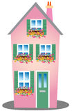 Pink house with window box Royalty Free Stock Images