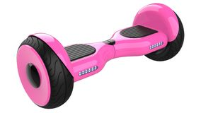 Pink hoverboard, dual wheel self balancing scooter. 3d rendering of rose self-balancing board, isolated on white Royalty Free Stock Images