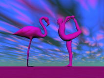 Flamingo yoga - 3D render. Pink human practicing yoga in front of flamingo in blue background Royalty Free Stock Photos