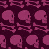 Pink human skull seamless pattern. Pink human side-face skull and bones seamless pattern, vector background Stock Photography