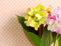 Pink hydrangea of artificial flowers bouquet Stock Photos