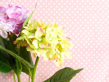 Pink hydrangea of artificial flowers bouquet Stock Image