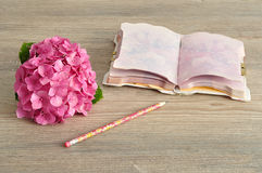 Pink Hydrangea with a notebook and pencil Stock Image