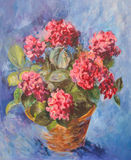 Oli painting of pink hydrangea Royalty Free Stock Image