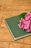 A pink hydrangea on top of a green story book. On a wooden background Stock Photography