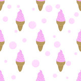 Pink ice cream and bubble. Seamless background Royalty Free Stock Photo