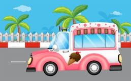 A pink ice cream bus Stock Photos