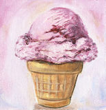 Pink ice cream cone Royalty Free Stock Photos
