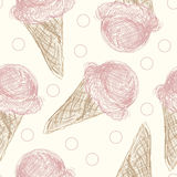 Pink Ice Cream Cone Pattern. A seamless pattern of pink ice cream cones on a pale yellow background Stock Illustration