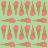 Pink ice cream cone seamless pattern. Vector illustration on pastel green background. For summer season Stock Image