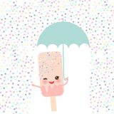 Pink ice cream, ice lolly holding an umbrella. Kawaii with pink cheeks and winking eyes, pastel colors on white sprinkles rain bac. Kground. Vector illustration Stock Images
