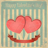 Pink Ice Cream in the shape of Hearts Stock Illustration