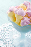 Pink ice cream shaped marshmallows Royalty Free Stock Photo