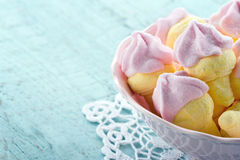 Pink Ice Cream Shaped Marshmallows On Wooden Background Stock Photography
