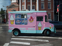 Pink ice cream van on a street in New York City Stock Photo