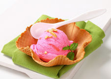 Pink ice cream in a wafer bowl Royalty Free Stock Photos