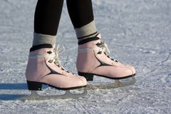 Pink ice skates. Royalty Free Stock Photos