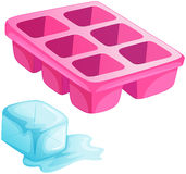 A pink ice tray. Illustration of a pink ice tray on a white background Royalty Free Stock Image