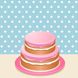 Pink iced cake Royalty Free Stock Image
