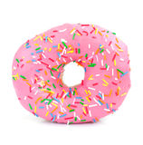 Pink Iced Doughnut. Covered in sprinkles on a white background royalty free stock image