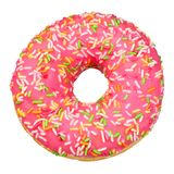 Pink donut isolated. Pink icing donut isolated on white background with clipping path royalty free stock images