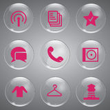 Pink Icons Set. Beautiful Pink Icons Set Vector In Glass For Design Stock Photos