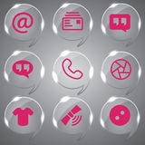 Pink Icons Set Vector. Set of 9 pink general vector icon design set Royalty Free Stock Images