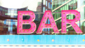 Pink illuminated bar sign royalty free stock image