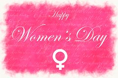 Pink illustration card with text Happy Women`s Day stock photos