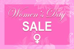 Pink illustration card with text Women`s Day SALE royalty free stock photography