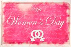Pink illustration card with text Happy Women`s Day royalty free stock image