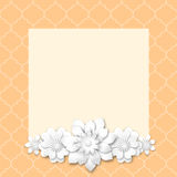Pink image frame with white 3d flowers Royalty Free Stock Photo