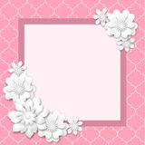 Pink image frame with white 3d flowers Stock Photos