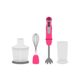 Pink immersion blender, whip, glass grinder Stock Photography