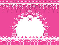 Pink Indian background. Traditional pink Indian banner design with henna patterns and space for text Stock Photography