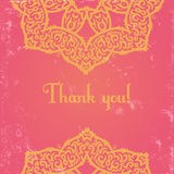 Pink indian card. Template of elegant greeting card with thank you text Royalty Free Stock Image