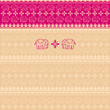 Pink Indian elephants saree background Stock Photos
