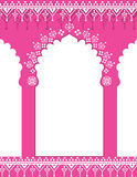 Pink Indian gate background. Pink Indian traditional architecture background with henna patterns and space for text Stock Image