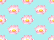 Pink Indian Lotus on Light Blue Background. Vector Illustration Stock Photography