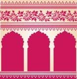 Pink Indian saree temple design Stock Image