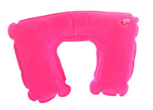 Pink inflatable travel neck cushion Royalty Free Stock Photos