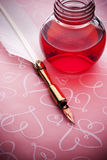 Pink Ink Pen Love Background royalty free stock photo
