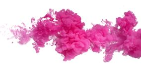 Pink Ink in Water. Shooting from left to right with high speed camera. Make your next amazing motion design projects or visual effects composites feel organic royalty free stock image