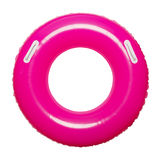 Pink Inner Tube. Pink Pool Floating Inner Tube with Handles Isolated on White Background Stock Image