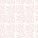 Pink inscription LOVE YOU seamless pattern Stock Photography