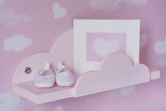 Pink  interior design of baby room Royalty Free Stock Image