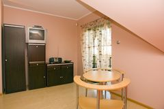Pink interior of wooden house royalty free stock image