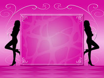 Pink invitation. Silhouettes of two women on pink background Royalty Free Stock Photos