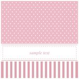 Pink vector invitation card with polka dots and st. Vector card or invitation for baby shower, wedding or birthday party with stripes and sweet white polka dots royalty free illustration